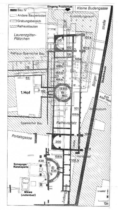 Das Gebiet des Kölner Praetoriums. Das heutige Grabungsgelände liegt unten, umgeben von Portalgasse, Judengasse, Marsplatz und Unter Goldschmied; darüber die Rathauslaube (Wolff, 168).