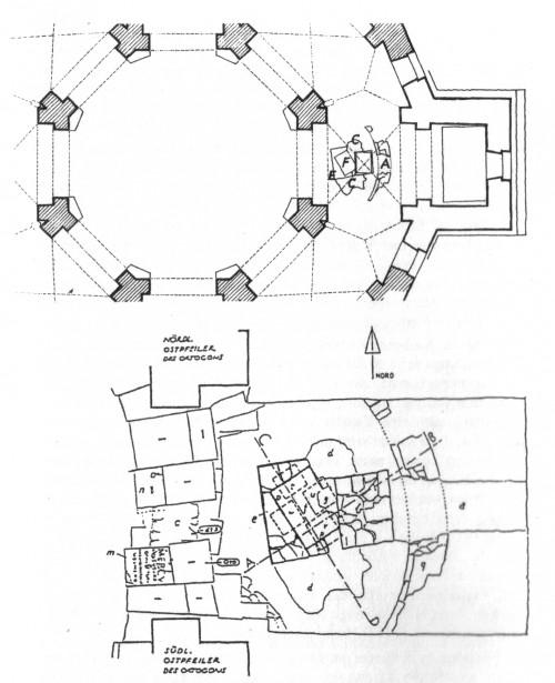 Fundlage vor dem ursprünglichen Altarraum der Pfalzkapelle