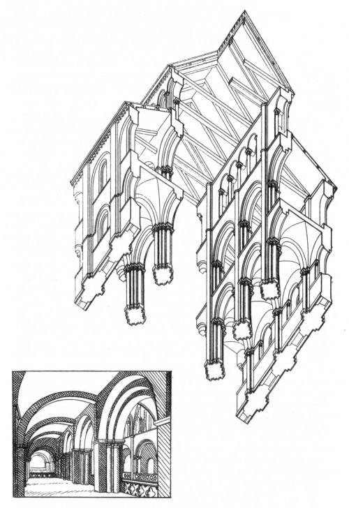 Emporensystem von St-Étienne, Caen: erste und zweite Version