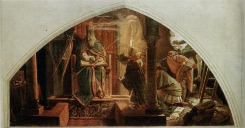 Otto III. vor der Mumie Karls d. Gr., auf Thron und Proserpina-Sarkophag sitzend
