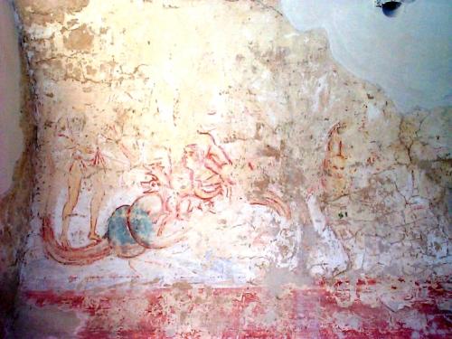 Corvey Freskenreste im Obergeschoss des Westbaus; Bildquelle: Anwander
