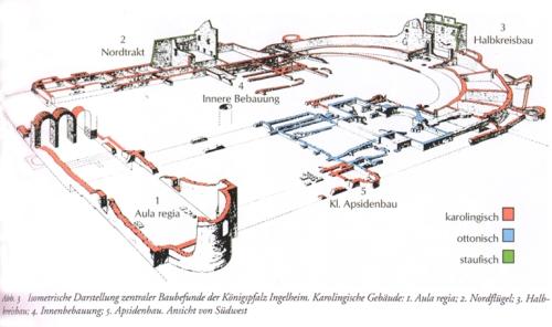 Ingelheim Kaiserpfalz: alle die 1999 im Katalog der Karolinger-Ausstellung in Paderborn noch als karolingisch postulierten Bauteile mussten im Abschlussbericht der Ausgräber als römisch eingestuft werden. Quelle: S/W