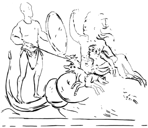 Corvey, Fresken; nachgezeichnetes Detail: Odysseus (Herakles?) mit Skylla (Cerberus?) Quelle: Klabes