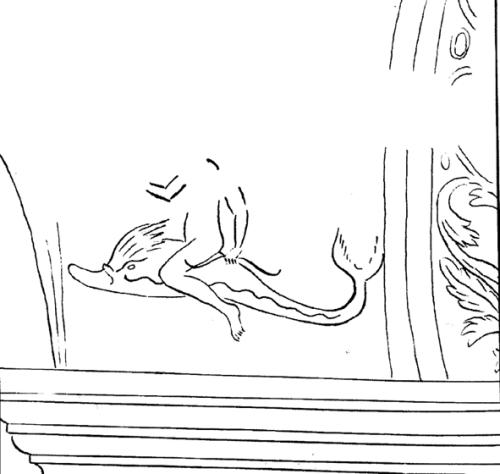 Corvey; Freskenreste; Nachzeichnung: Erot auf Delfin, Quelle: Klabes
