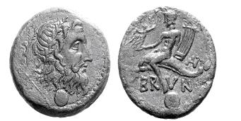 Beispiel für einen Delfinreiter: Der Dichter Arion, von Matrosen ins Meer geworfen, wird von einem Delfin gerettet. Griechische Münze; 2. Jh. v. Chr. Quelle: http://imagedb.coinarchives.com/img/kunker/083/00051p00.jpg