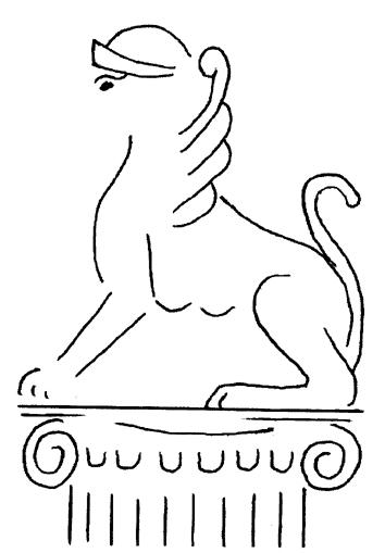 Corvey, Freskenreste: Sphinx, Nachzeichnung Klabes, Quelle: Klabes