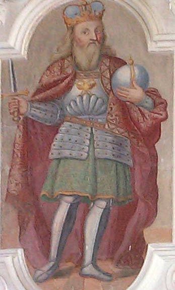 Corvey, Schloss, Fresko: Karl der Große; etwas verunglückte Darstellung. Ein Bildnis Karls des Großen, eingereiht unter die Ahnen der Schlossherrn, war selbst in der Barockzeit für Schlösser nahezu obligatorisch; Bild: Anwander