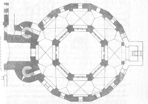 Aachen: Gewölbegrundriss Erdgeschoss [Das erfundene Mittelalter S. 225]