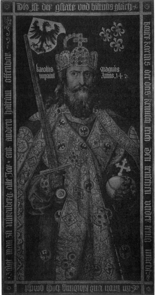 Karl der Große: Idealbildnis mit den Reichskleinodien, die zu seiner Zeit noch nicht existierten, von Albrecht Dürer, 1510/12