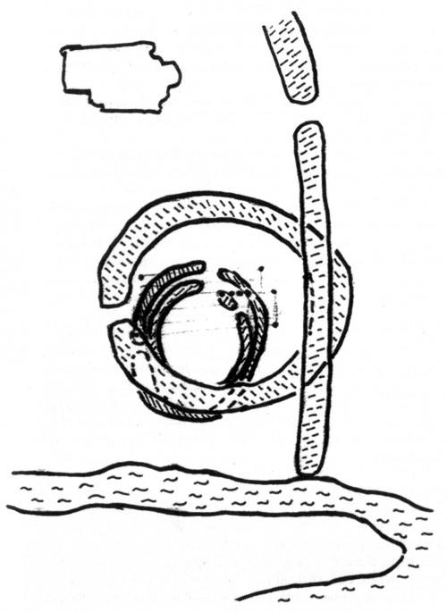 Trotz zahlreicher, auch redundanter Karten gibt es in Mythos Hammaburg keine mit der gesamten Abfolge vom 8. bis ins 11. Jh. Deshalb hier eine eigene Zeichnung [aus WK 34, 39 etc.], maßstabslos wie alle jene Karten des Begleitbuchs. Zu sehen sind die beiden sächsischen Grabenringe innerhalb des größeren Rings, der vom Heidenwall als Absperrung der Halbinsel abgelöst worden ist. Innerhalb der Wälle die vier Pfosten des ersten Doms und seine Eckpunkte. Links oben der Umriss der viel späteren Kirche St. Petri. Läge unter ihr die von Weiss erhoffte Ansgar-Kirche?