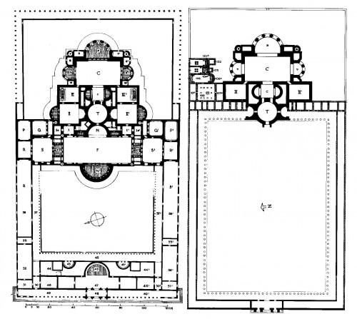 "Abb. 5: ""Grundrisse der Kaiserthermen; links: erster Bauzustand [~300], rechts: zweiter Bauzustand [2. Hälfte 4. Jh.]"" [H. 277, Abb. 96]"