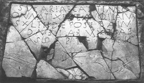 """Abb. 11: Frühchristliche Grabinschrift der """"Sucaria Castimonialis"""" mit Christusmonogramm (Chi-Rho, ΧΡ) und Tauben, """"die Bezeichnung »Castimonialis« (»die Keusche«) wird als Hinweis auf eine Nonne interpretiert"""" [K. 54]"""