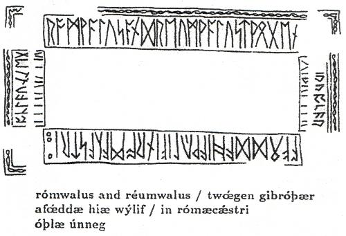 """Abb. 4: Runenschrift auf einem aus Walknochen gefertigten Kästchen (Northumbrien, beginn. 8. Jh.). Die Buchstabenfolge """"Rom..."""" bzw. """"Romae..."""" stimmt mit den """"Romae""""-Buchstaben der Titelseite des Kodex Bern 207, der in die selbe Zeit datiert wird, nur mit dem ersten Zeichen (""""R"""") überein."""