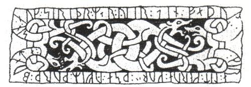 """Abb. 6: Von Runenschrift umrahmte Darstellung mit verschlungener Tiersymbolik, aus einem Standardwerk zur Runenkunde. Der Vogel- und Schlangenstil entspricht der Darstellung von Bern 207 (Abb. 2). Die Wiedergabe im Profil (sog. """"Jellingstil"""") ist im 10. Jh. entstanden, erheblich später, als der Berner Kodex datiert wird."""