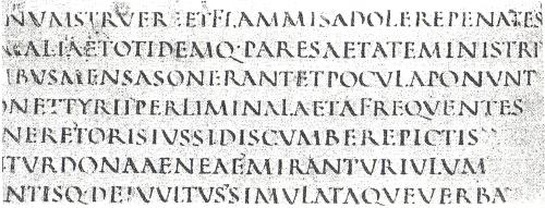 Abb. 8: Das klassische A mit geradem, nicht geknicktem Querstrich im St. Galler Vergil-Text, der ins 4./5. Jh. datiert wird. Wie es zum A mit nach unten geknicktem Querstrich wie im Berner Kodex 207 gekommen ist, bleibt unerfindlich, zumal im Buchstabenverzeichnis und der Paginierung dort das A ohne Knick-Querstrich erscheint (Abb. 3).
