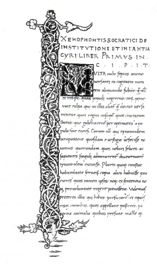 """Abb. 8: Typische erste Seite eines Manuskripts des 15. Jhs. aus der Medici-Bibliothek Laurenziana [Hs. Strozzi 50]. Es ist die lateinische Übersetzung von Xenophons """"Kindheit des Kyros"""", angefertigt von Poggio Bracciolini. Die folgenden 190 Seiten sind reine Textseiten."""