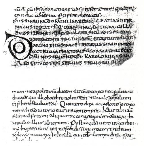 """Abb. 9: Ausschnitte aus den Briefen Papst Leos III. an Karl den Großen (oben mit dem Wort """"SARRACENIS"""", unten mit dem Wort """"mauri""""). In der Karolingerzeit existierten aber keine Mauren, deren Name erst in der Zeit der Reconquista aufkam. Auch aus diesem Grund ist das mit den Leo-Briefen zusammenhängende """"Capitulare de Villis"""", das wirtschaftliche Grundgesetz Karls des Großen, als Märchen enttarnt."""