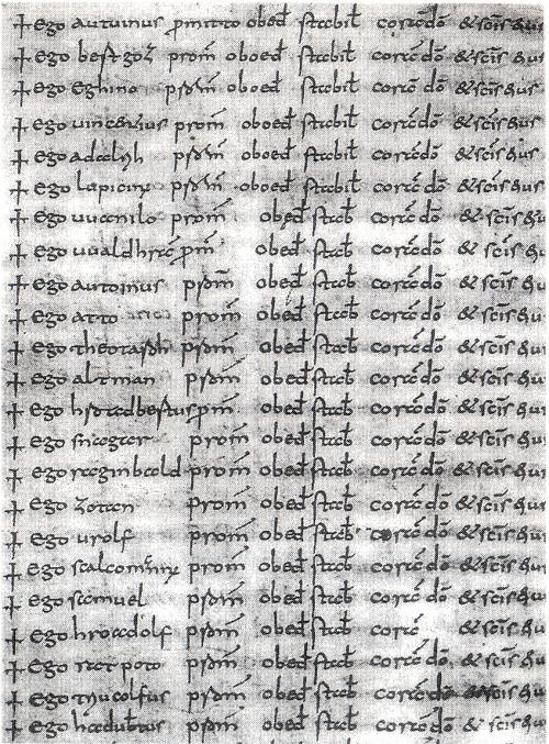 Abb. 2: St. Galler Professbuch, hier die Seite 4 [aus Krieg 1931]. Die Mönchsgelübde sind auf den ersten sieben Seiten jeweils von der selben Hand geschrieben.