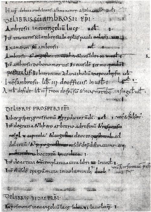 """Abb. 4: Der älteste Bibliothekskatalog von St. Gallen 884/888 [Schmuki et al. 1998, 93]. Es erscheinen Titel (""""De..."""") von Büchern, wiewohl Kodizes damals ausschließlich mit ihrem Beginn (""""Incipit..."""") bezeichnet wurden."""
