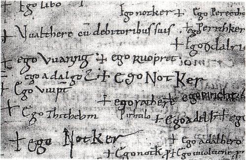 """Abb. 5: St. Galler Professbuch, Seite 20. Auf zehn Zeilen lassen sich vier """"Notkers"""" zählen."""