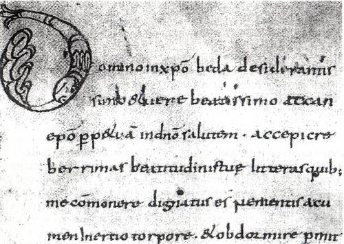 """Abb. 6: Beginn des Salzburger karolingischen Beda-Textes (Forstner 1962, Abb. 15). Das """"dignatus"""" in Zeile 5. Der Text endet mit S. 98v."""