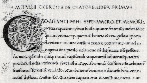 """Abb. 7: Beginn von Ciceros """"De Oratore"""" in einer Humanistenschrift des 15. Jh. [Bibliotheca Laurenziana, Plut. 50.31 ca 1]. Das """"dignitate"""" ebenfalls in Zeile 5"""