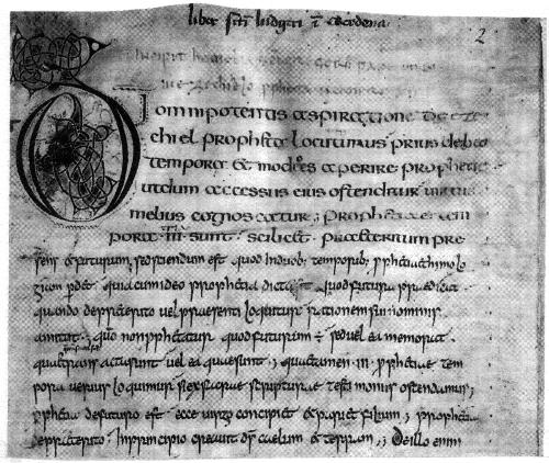 Abb. 3: Homilien Gregors, vor 802, geschrieben in einer Art karolingischer und danach in einer angelsächsischen Minuskel (Ausschnitt). Was will uns dieser Schriftenmix sagen?