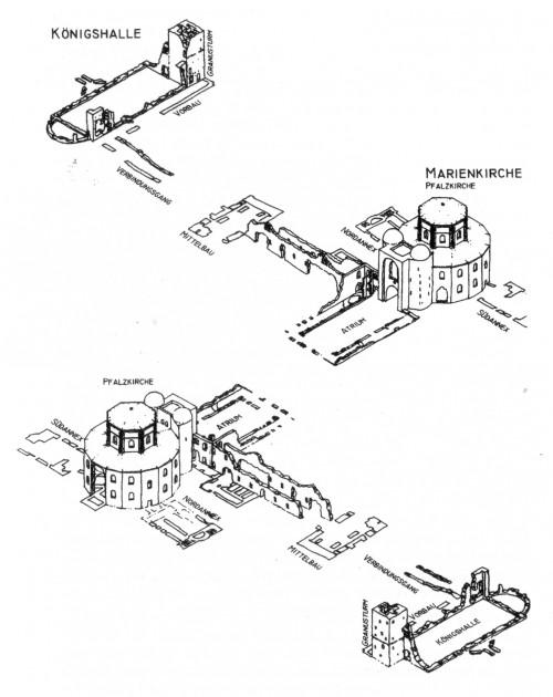 """""""Erhaltener karolingerzeitlicher Baubestand der Kernpfalz Aachen · Entwurf: Judith Ley, Zeichnung: Frédéric Schnee"""" [Kraus, 117]"""