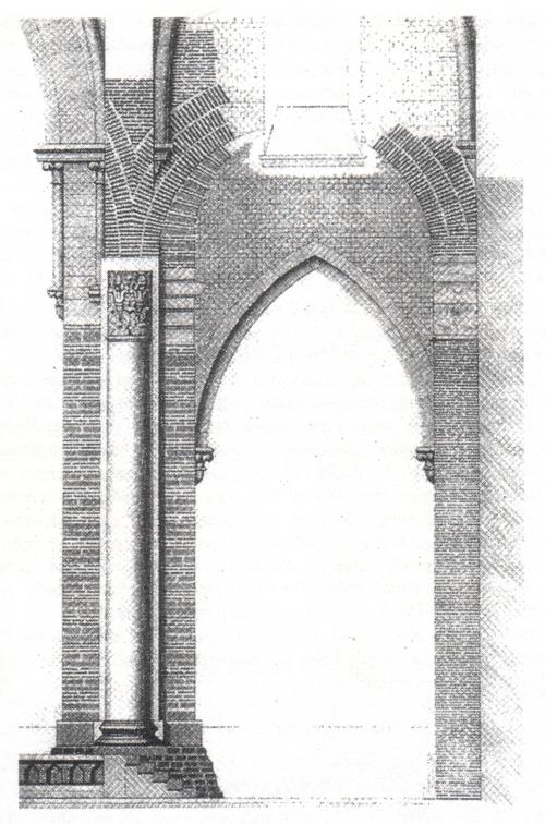 """""""Schnitt durch den nordwestlichen Vierungspfeiler und das nördliche Seitenschiff (mit Blick von Osten): Treppen des Quadratpodiums (4. Jh.); nicetische Säule (6. Jh.) mit Ummantelung (10. Jh.); Ziegelbögen (6. Jh.), durch barockes Fenster (18. Jh.) durchbrochen; darunter: sichelförmiger Bogen (11. Jh.); Wand, Wandpfeiler und Kapitellrest (4. Jh.); Spitzbogen und Füllmauerwerk (11. Jh.)"""" [Ronig 6]"""
