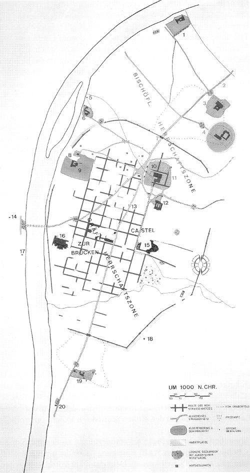 """""""Trier, Lageplan um 1000, Zeichnung von R. Thelen (Planarchiv Städtische Denkmalpflege)"""" [Trier 41]"""