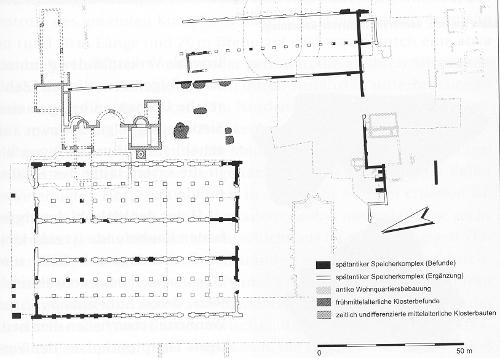 """""""Gesamtplan der antiken und mittelalterlichen Befunde auf dem Gelände der Vereinigten Hospizien (Sankt Irminen)"""", auch Horrea genannt, Ausschnitt [Kuhnen 167]"""